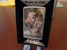 GRIZZLY BEARS FIGHTING IN RIVER ZIPPO LIGHTER MINT IN BOX