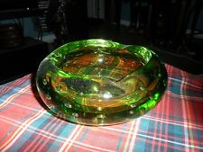 Vintage Mid Century Art Glass GREEN BUBBLE GLASS ASHTRAY BOWL Murano Style