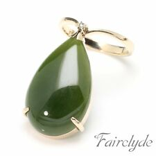 Huge Fine Quality Vintage Green Nephrite Jade & Diamond 14K Ring Gift Boxed