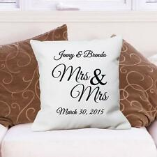 Personalized Mrs & Mrs Throw Pillow Gay Wedding Gift Couples Couch Throw Pillow
