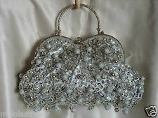 VINTAGE LOOK SILVER FULLY LARGE-BEADED SATIN EVENING PURSE/CLUTCH/HANDBAG
