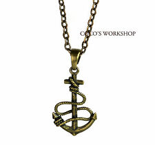 QUALITY BRONZE VINTAGE 3D ANCHOR PENDANT MENS WOMENS CROSS CHAIN NECKLACE GIFT
