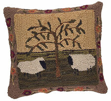 Farmhouse Primitive Willow and Sheep Hooked Pillow Cover by Park Designs, 18x18