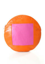 NWT LISA PERRY Orange Pink Leather Large Circle Pouch Clutch Handbag $140