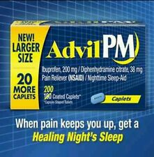 Advil PM Ibuprofen 200mg Pain Reliever Nighttime Sleep Aid 180+20 Coated Caplets