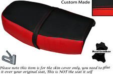 BLACK & BRIGHT RED CUSTOM FITS KAWASAKI Z 200 DUAL LEATHER SEAT COVER ONLY