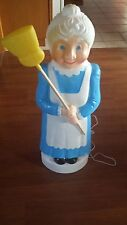 Mrs Santa Claus Christmas NEW Union Blow Mold Blue Lady broom Lawn ornament