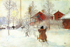 "CARL LARSSON : BRITA AND THE SLEIGH : SWEDISH STYLE : 24"" FINE ART CANVAS PRINT"