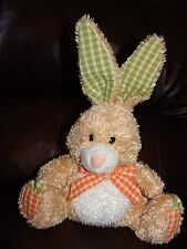 """Mary Meyer Brown and White Bunny Rabbit w/ Carrot Feet Plush Doll 12"""""""