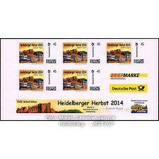 """BRIEFMARKE INDIVIDUELL 5er-Block """"Heidelberger Herbst 2014"""" von G. Hofmann, NEU"""