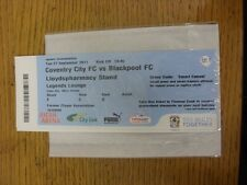 27/09/2011 Ticket: Coventry City v Blackpool  (Legends Lounge). Unless previousl