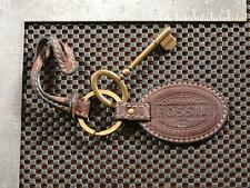VINTAGE FOSSIL 3'' REPLACEMENT KEY PURSE FOB CHAIN CHARM HANG TAG BROWN LEATHER