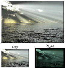 Glow in the Dark Canvas Art - Ocean Sunrise Rays of Light - Ready to Hang