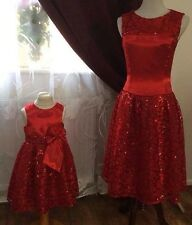 Mother And Daughter Matching Dress Set High Quality RED