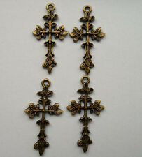 10pcs bronze plated cross charms pendant 42x21 mm