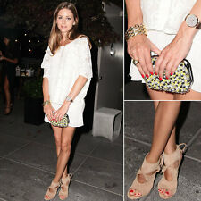Zara Sequined Clutch Yellow White Black Suede Leather w/Olivia Palermo article