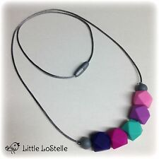 Silicone Baby Teether Teething Necklace Nursing Pink Purple Navy US Fast Ship