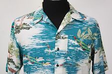 Utility beige brown teal red yellow surfer waterskier palm hawaiian shirt Small