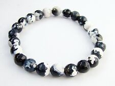 ELASTICATED WOMEN 8mm WHITE/BLACK FIRE CRACKLE AGATE streachable bracelet