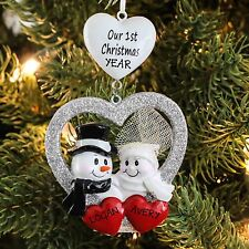 COUPLES OUR FIRST CHRISTMAS WEDDING MARRIED PERSONALIZED CHRISTMAS TREE ORNAMENT