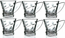 RCR Laurus Crystal Set of 6 Crystal Glass Tea Cups Glasses Gift Box Set of 6