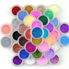 45 Colors Glitter Powder Dust Nail Art Acrylic UV Gel Decoration Tips Set Makeup