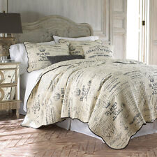 PARIS APT HISTORY FRENCH COUNTRY SCRIPT KING QUILT SET CREAM CHARCOAL Scalloped