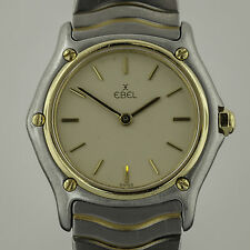 Ebel Classic Wave, Ladies, Stainless Steel and 18k Yellow Gold, Creme Dial