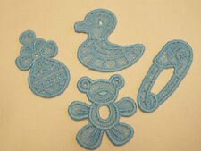 Iron on/Sew on-Blue,Baby Diaper,Ducky,Rattle,Teddy Guipure Lace Motif,Applique