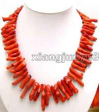 """SALE Big Red 8*40mm GENUINE Natural Branch Coral Long 20"""" Necklace-nec5533"""