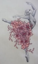"""Embroidered Quilt Block Panel """"Ballerina with Flowers"""" Pure Irish Linen Fabric"""