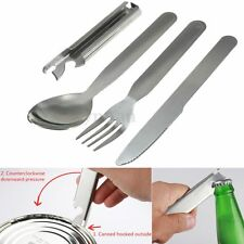 Stainless Metal Fork Spoon Cutter Opener Set Kit Cutlery Camping Hiking Picnic