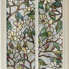 Privacy Security DIY Magnolia Static cling stained glass window film