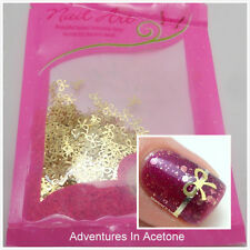 1000pcs/Bag 3D Golden Foil Metal Nail Art Tips Charms Decal Slice Bowknot Design
