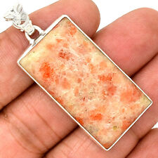 12g Natural Sunstone 925 Sterling Silver Pendant  Jewelry PP26057