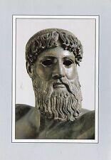 Vecchia cartolina Arte-Atene-statua di bronzo del Poseidon o Zeus