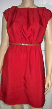 AD LIB Red Belted Satin Look Sleeveless Pocketed Summer Dress Size 10  C37