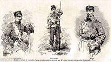 CACCIATORI DELLE ALPI,di Garibaldi: UNIFORMI:Sottotenente,Volontario,Medico.1859