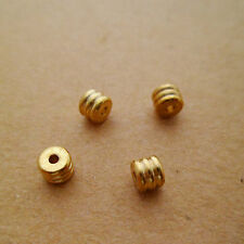 60pcs High-quality Solid Raw Brass Spacer Beads with 3 Lines for Jewellers