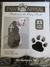 PAW APPEAL DOG/PUPPY PET FASHION BLACK & SILVER CROSS MADONNA TEE SHIRT SIZE XS