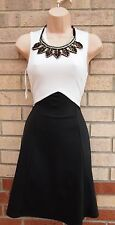QUIZ PARTY BEADED COLLAR WHITE BLACK SLIM CURVY SKATER PROM RARE DRESS 6 XS