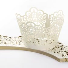 24pcs Pearly Paper Clover Design Vine Lace Cup Cake Wrappers Table Decoration