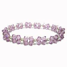 925 Silver Lavender Swarovski Elements Beaded Bracelet