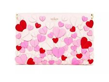 Kate Spade Applique Hearts Carley Secret Admirer Pink Hearts Clutch Bag Purse NW