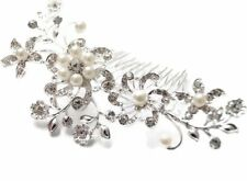 Bridal Wedding Prom Pearl Diamonte Hair Comb Brand New UK Seller