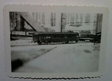Vintage B&W Photo Electric Toy Train Track Room Passenger Car Scalloped Edges