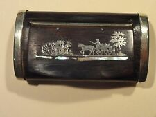 Antique Snuff Box~Rosewood with Sterling Silver+Mother-of-Pearl Scene Inlays~Wow