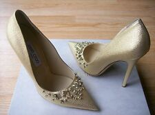 $1195 Jimmy Choo Flame Shoes Pointy Toe Pumps Gold Crystals sz 40 US 9 9.5 NEW
