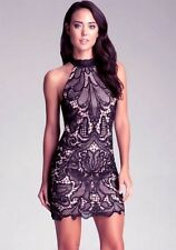 NWT BEBE black lace mock neck keyhole embroided fitted halter top dress S Small
