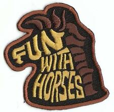 Girl Boy Cub FUN WITH HORSES Black Fun Patches Crest Badges SCOUT GUIDE riding